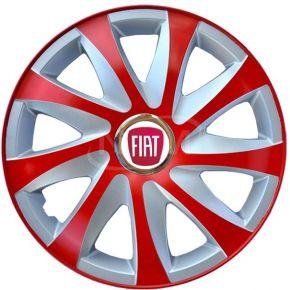 """Poklice pro FIAT 14"""", DRIFT EXTRA červeno-stříbrné 4ks"""