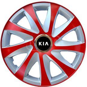 "Poklice pro KIA 15"", DRIFT EXTRA červeno-stříbrné 4ks"