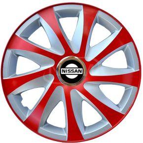 """Poklice pro NISSAN 15"""", DRIFT EXTRA červeno-stříbrné 4ks"""