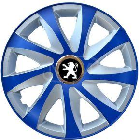 "Poklice pro PEUGEOT 14"", DRIFT EXTRA modro-stříbrné  4ks"