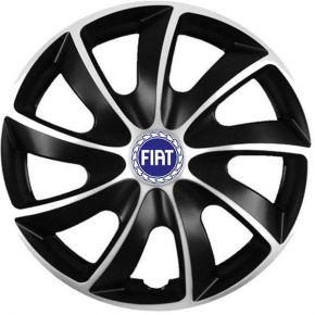 """Puklice pre Fiat 17"""", Quad bicolor modrý znak, 4 ks"""