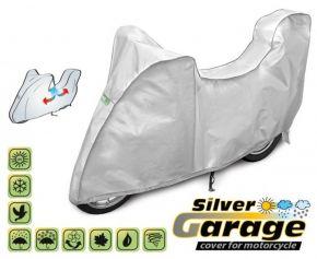 Ochranná plachta na motocykl SILVER GARAGE proti slunci a dešti. D. 240-265 cm + kufr